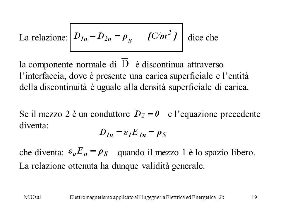 M.UsaiElettromagnetismo applicato allingegneria Elettrica ed Energetica_3b19 La relazione: dice che la componente normale di è discontinua attraverso