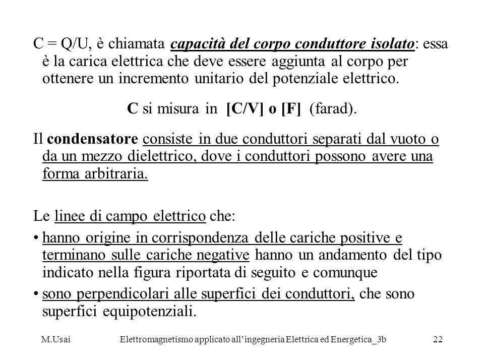 M.UsaiElettromagnetismo applicato allingegneria Elettrica ed Energetica_3b22 C = Q/U, è chiamata capacità del corpo conduttore isolato: essa è la cari