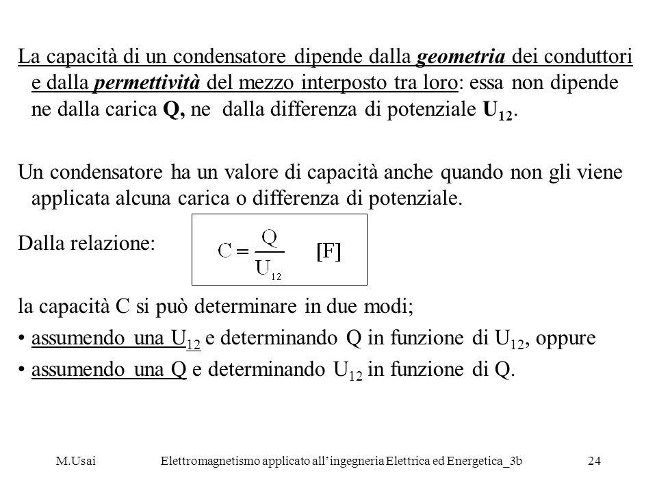 M.UsaiElettromagnetismo applicato allingegneria Elettrica ed Energetica_3b24 La capacità di un condensatore dipende dalla geometria dei conduttori e d