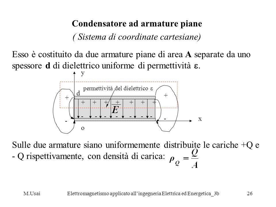 M.UsaiElettromagnetismo applicato allingegneria Elettrica ed Energetica_3b26 Condensatore ad armature piane ( Sistema di coordinate cartesiane) Esso è