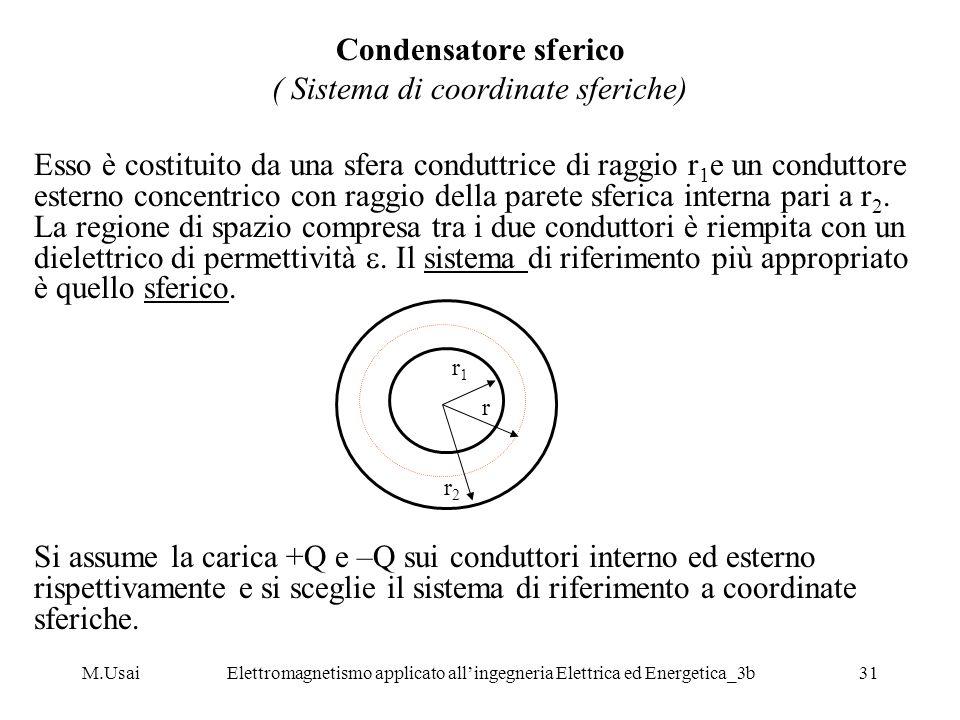 M.UsaiElettromagnetismo applicato allingegneria Elettrica ed Energetica_3b31 Condensatore sferico ( Sistema di coordinate sferiche) Esso è costituito