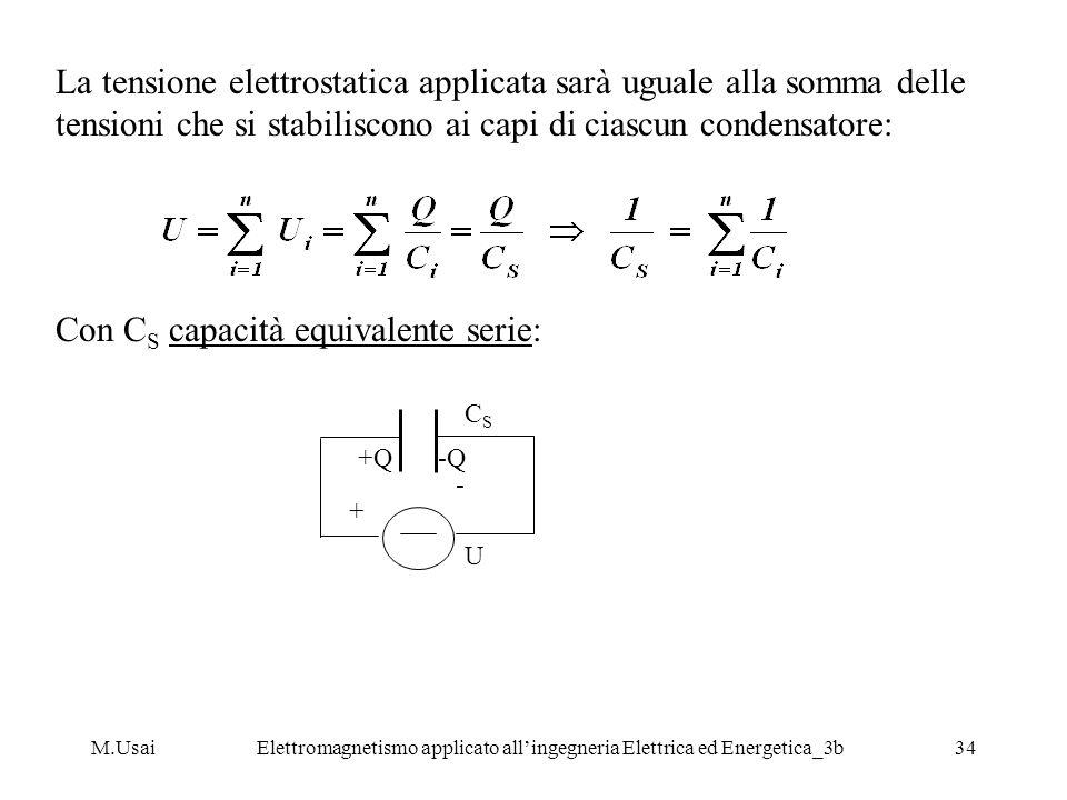 M.UsaiElettromagnetismo applicato allingegneria Elettrica ed Energetica_3b34 La tensione elettrostatica applicata sarà uguale alla somma delle tension