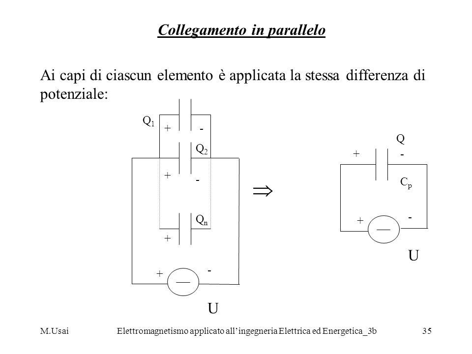 M.UsaiElettromagnetismo applicato allingegneria Elettrica ed Energetica_3b35 Collegamento in parallelo Ai capi di ciascun elemento è applicata la stes