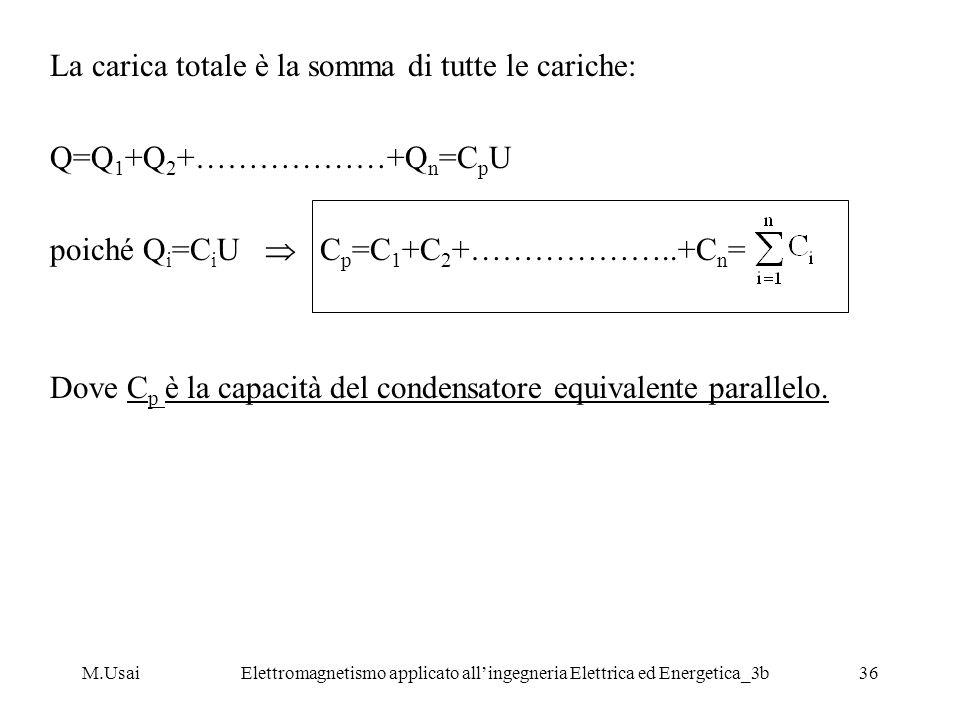 M.UsaiElettromagnetismo applicato allingegneria Elettrica ed Energetica_3b36 La carica totale è la somma di tutte le cariche: Q=Q 1 +Q 2 +………………+Q n =