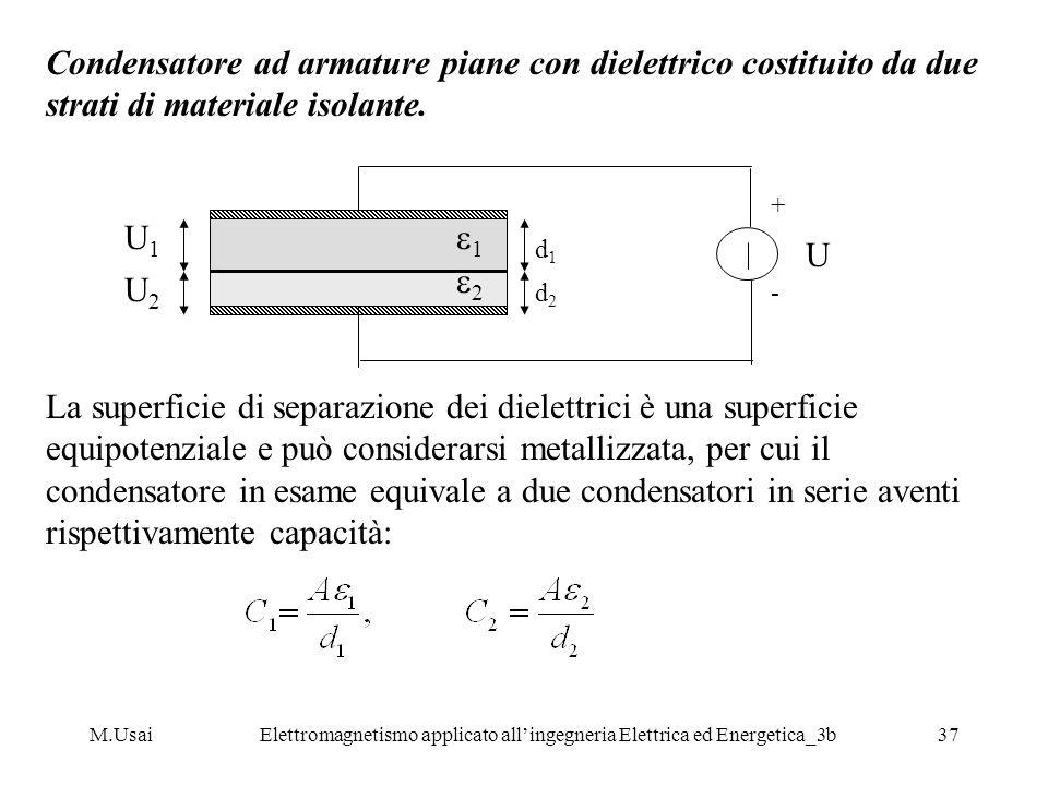 M.UsaiElettromagnetismo applicato allingegneria Elettrica ed Energetica_3b37 Condensatore ad armature piane con dielettrico costituito da due strati d