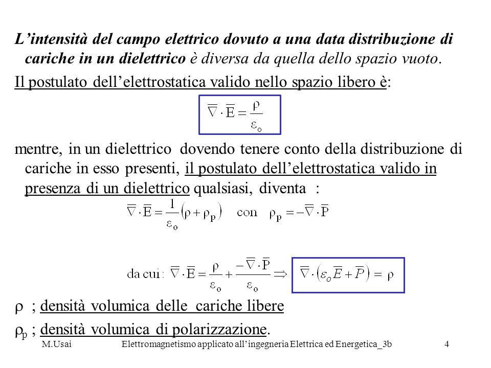M.UsaiElettromagnetismo applicato allingegneria Elettrica ed Energetica_3b4 Lintensità del campo elettrico dovuto a una data distribuzione di cariche