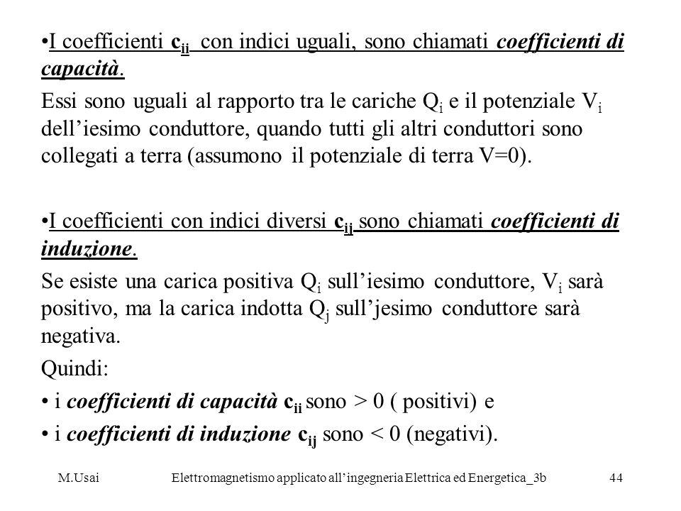 M.UsaiElettromagnetismo applicato allingegneria Elettrica ed Energetica_3b44 I coefficienti c ii con indici uguali, sono chiamati coefficienti di capa