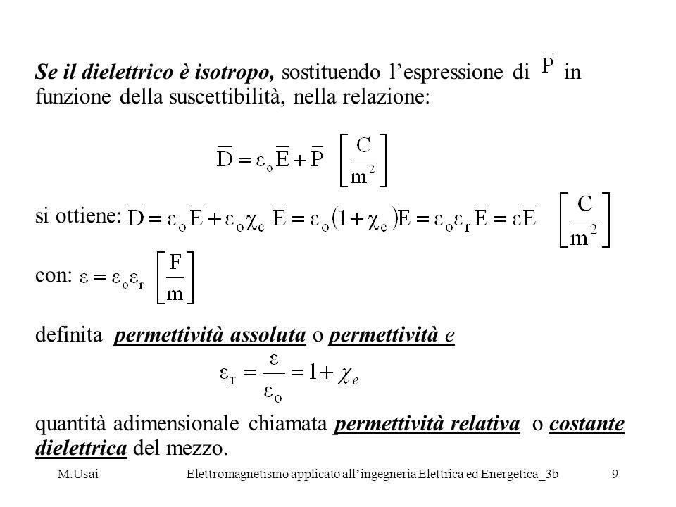 M.UsaiElettromagnetismo applicato allingegneria Elettrica ed Energetica_3b9 Se il dielettrico è isotropo, sostituendo lespressione di in funzione dell
