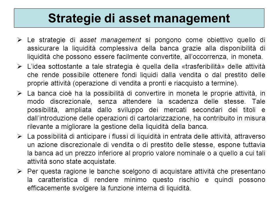 Strategie di asset management Le strategie di asset management si pongono come obiettivo quello di assicurare la liquidità complessiva della banca gra