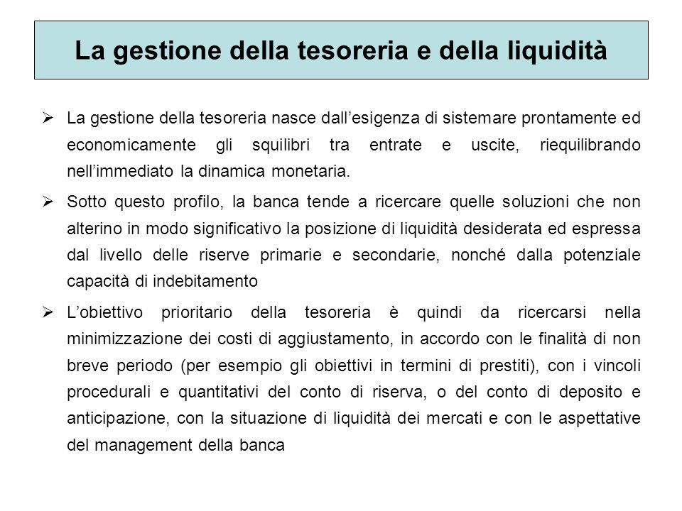 La gestione della tesoreria e della liquidità La gestione della tesoreria nasce dallesigenza di sistemare prontamente ed economicamente gli squilibri