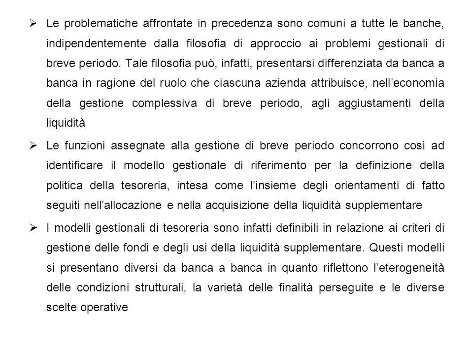 Le problematiche affrontate in precedenza sono comuni a tutte le banche, indipendentemente dalla filosofia di approccio ai problemi gestionali di brev