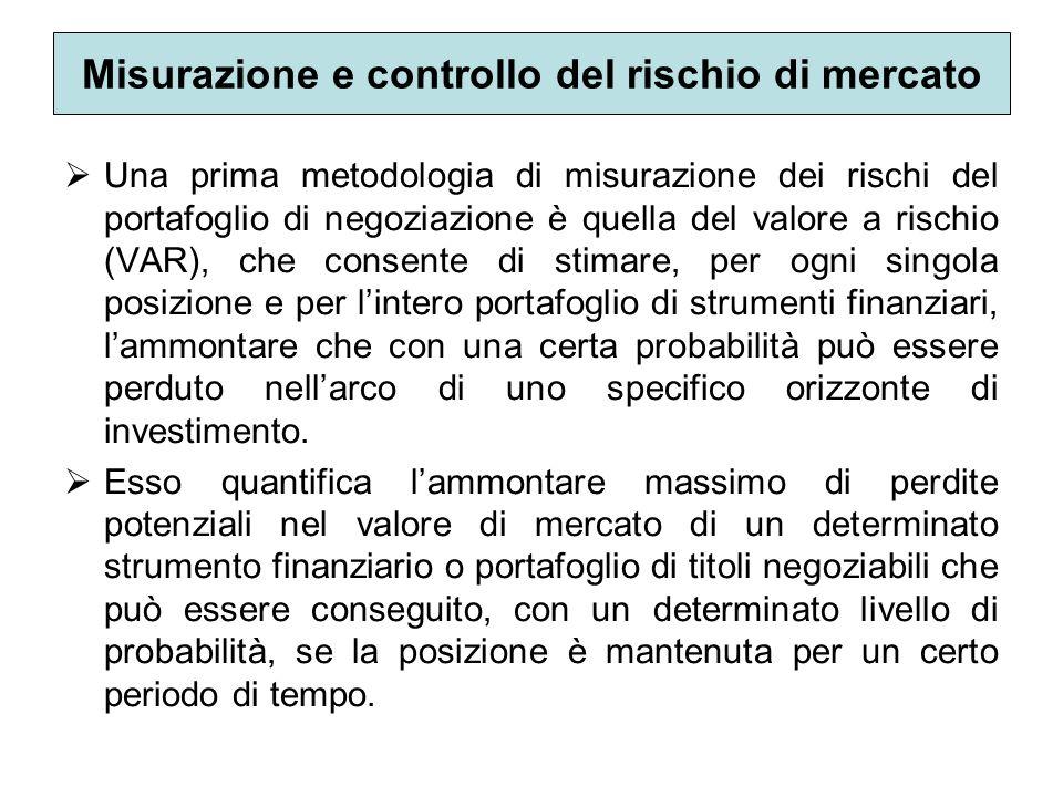 Misurazione e controllo del rischio di mercato Una prima metodologia di misurazione dei rischi del portafoglio di negoziazione è quella del valore a r