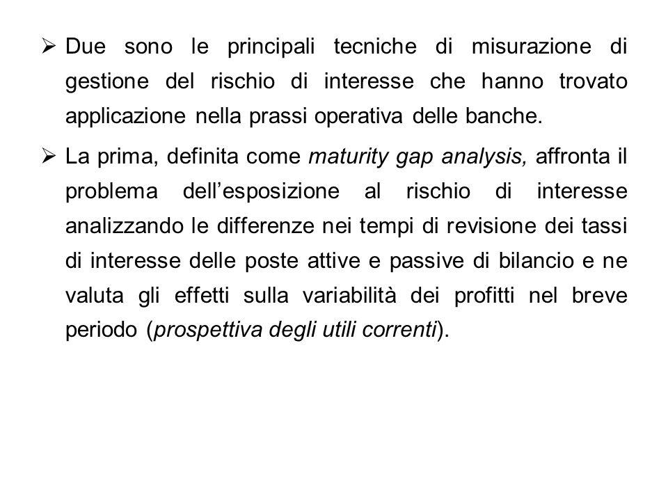 Due sono le principali tecniche di misurazione di gestione del rischio di interesse che hanno trovato applicazione nella prassi operativa delle banche