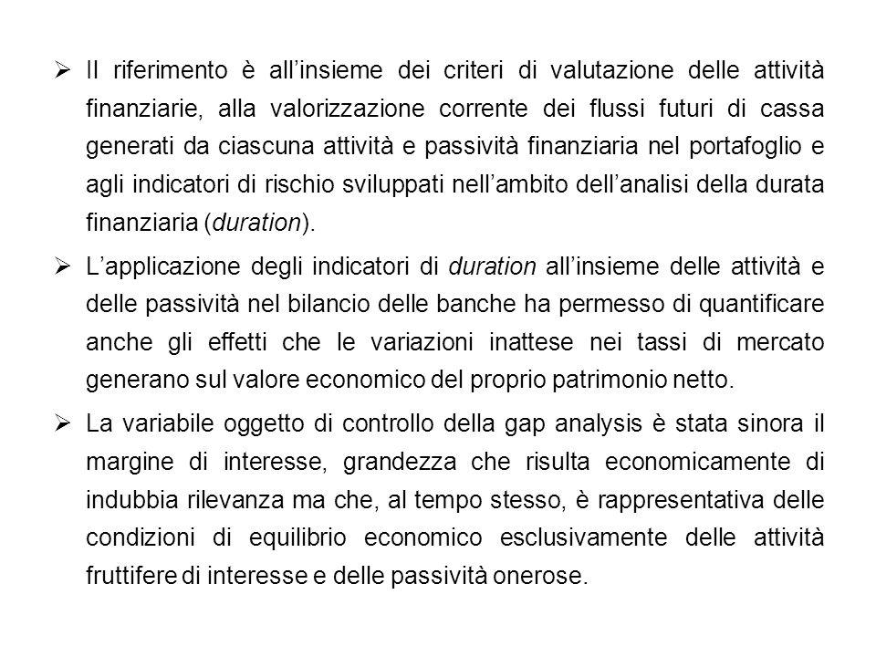 Il riferimento è allinsieme dei criteri di valutazione delle attività finanziarie, alla valorizzazione corrente dei flussi futuri di cassa generati da