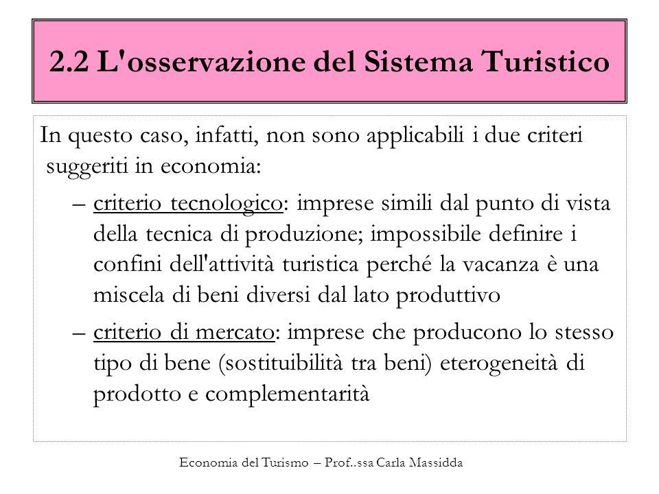 Economia del Turismo – Prof..ssa Carla Massidda 2.2 L'osservazione del Sistema Turistico In questo caso, infatti, non sono applicabili i due criteri s