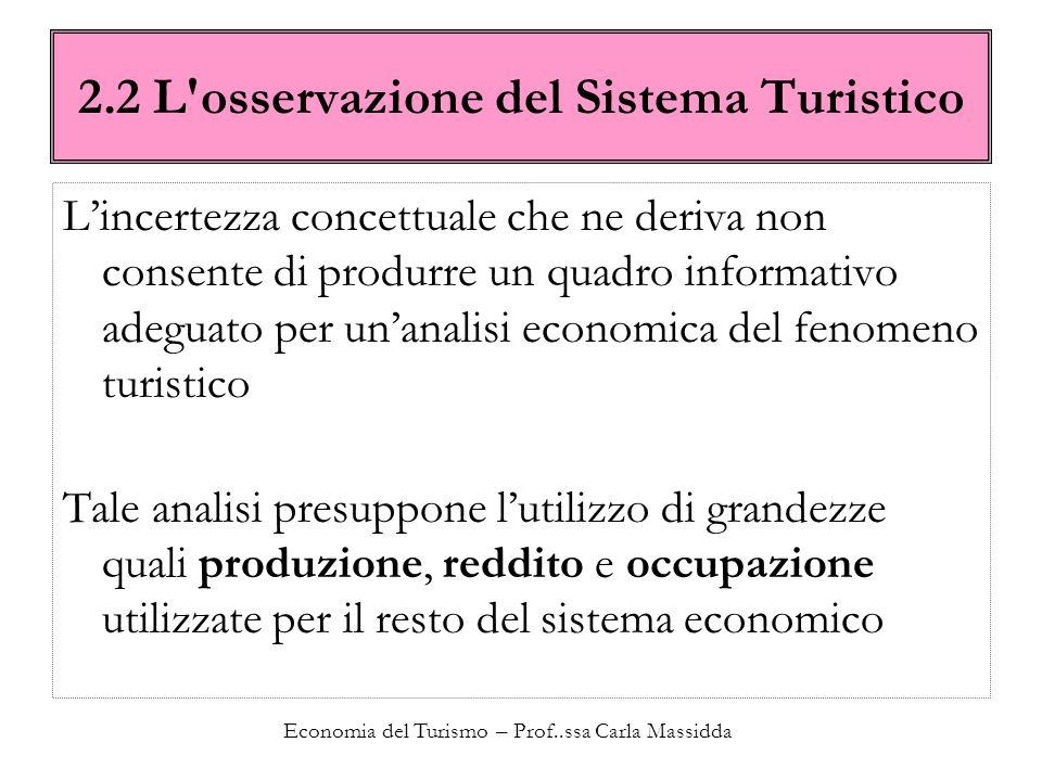 Economia del Turismo – Prof..ssa Carla Massidda 2.2 L'osservazione del Sistema Turistico Lincertezza concettuale che ne deriva non consente di produrr