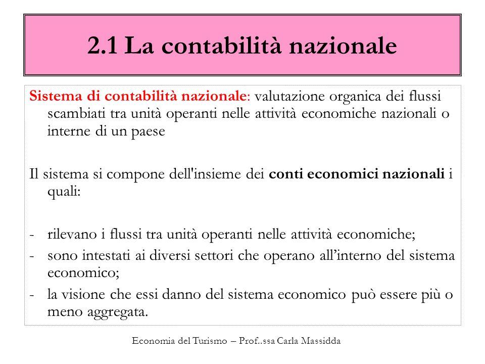 Economia del Turismo – Prof..ssa Carla Massidda 2.1 La contabilità nazionale Sistema di contabilità nazionale: valutazione organica dei flussi scambia