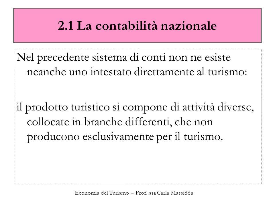 Economia del Turismo – Prof..ssa Carla Massidda 2.1 La contabilità nazionale Nel precedente sistema di conti non ne esiste neanche uno intestato diret