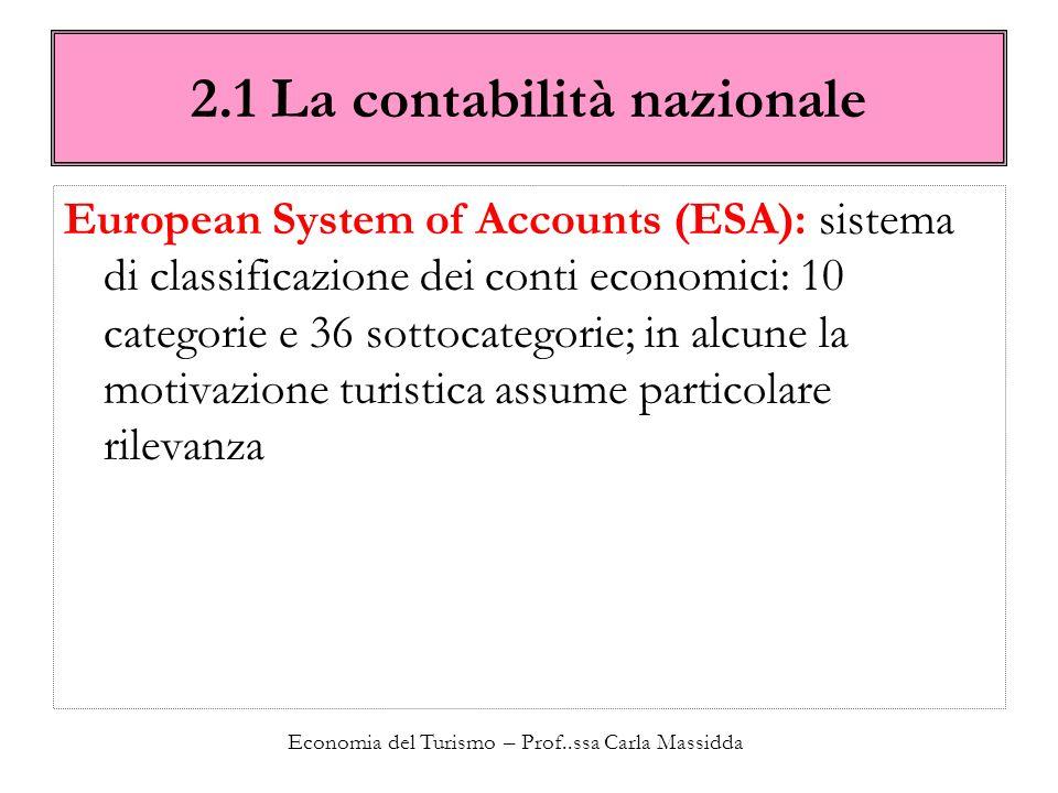 Economia del Turismo – Prof..ssa Carla Massidda 2.1 La contabilità nazionale European System of Accounts (ESA): sistema di classificazione dei conti e