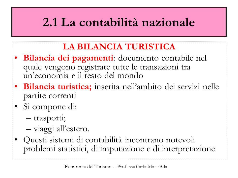 Economia del Turismo – Prof..ssa Carla Massidda 2.1 La contabilità nazionale LA BILANCIA TURISTICA Bilancia dei pagamenti: documento contabile nel qua