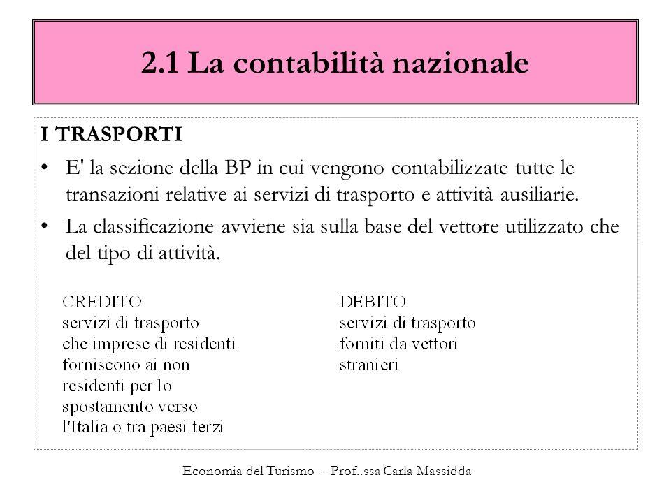 Economia del Turismo – Prof..ssa Carla Massidda 2.1 La contabilità nazionale I TRASPORTI E' la sezione della BP in cui vengono contabilizzate tutte le