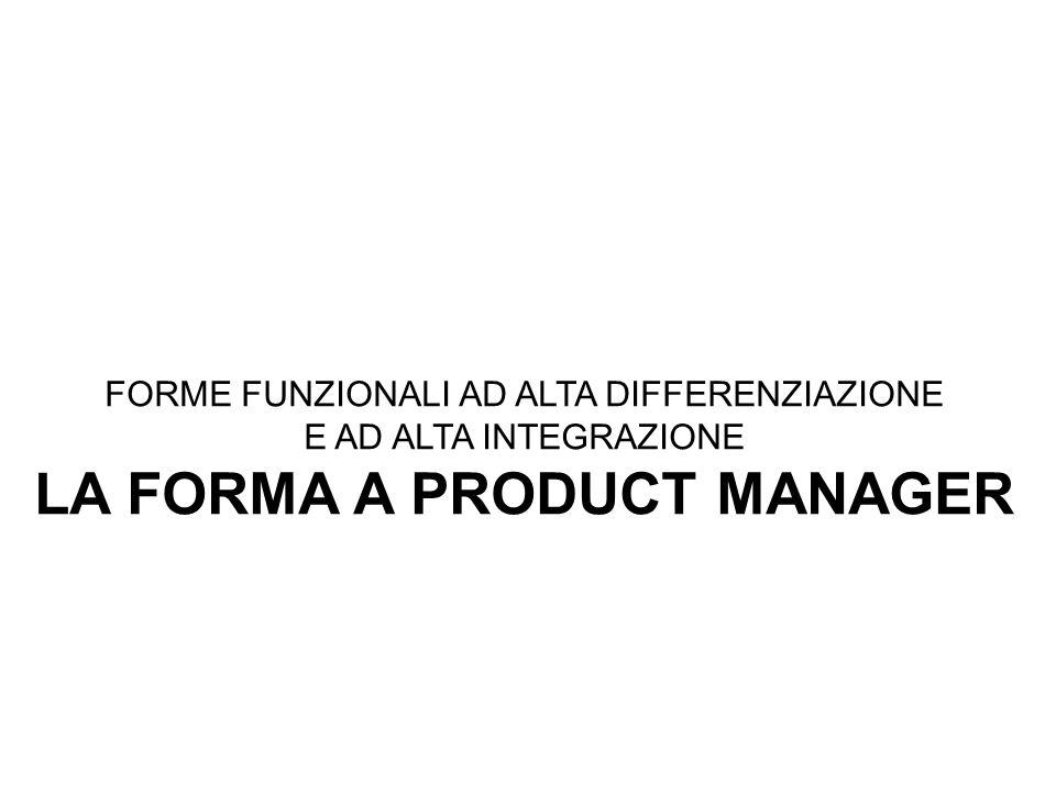 FORME FUNZIONALI AD ALTA DIFFERENZIAZIONE E AD ALTA INTEGRAZIONE LA FORMA A PRODUCT MANAGER