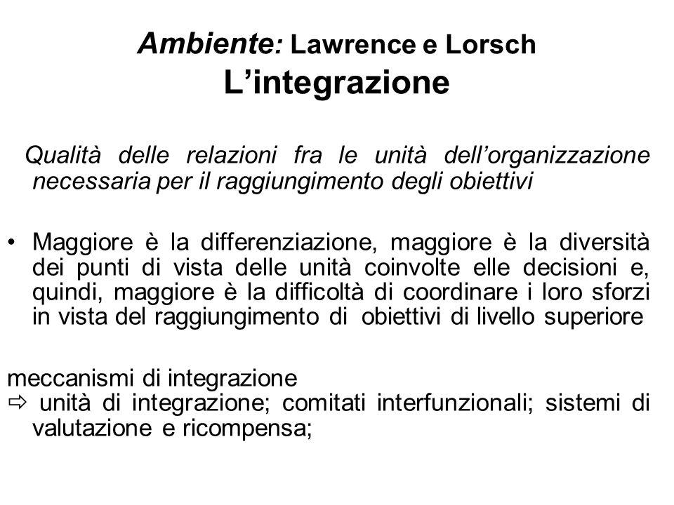 Ambiente : Lawrence e Lorsch Lintegrazione Qualità delle relazioni fra le unità dellorganizzazione necessaria per il raggiungimento degli obiettivi Ma