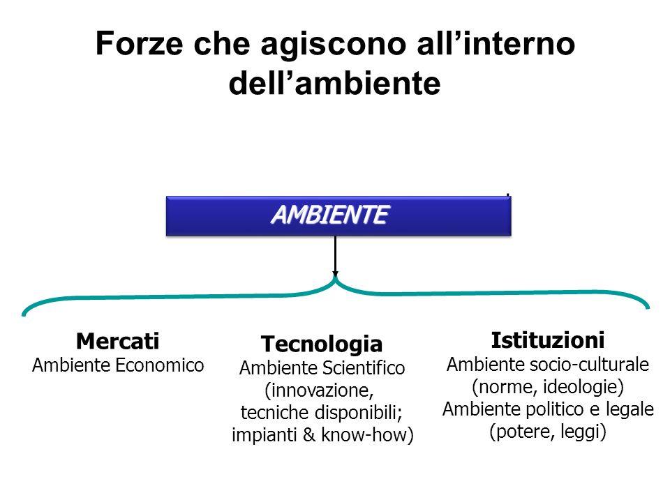 Forze che agiscono allinterno dellambiente Mercati Ambiente Economico Tecnologia Ambiente Scientifico (innovazione, tecniche disponibili; impianti & k