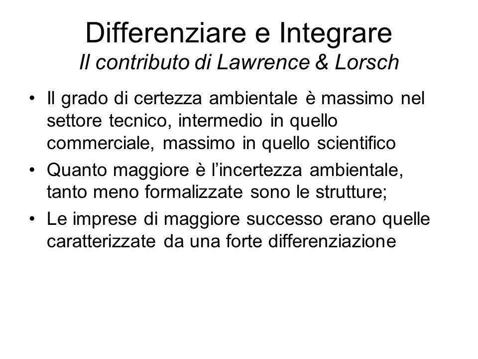 Ambiente : Lawrence e Lorsch Lintegrazione Qualità delle relazioni fra le unità dellorganizzazione necessaria per il raggiungimento degli obiettivi Maggiore è la differenziazione, maggiore è la diversità dei punti di vista delle unità coinvolte elle decisioni e, quindi, maggiore è la difficoltà di coordinare i loro sforzi in vista del raggiungimento di obiettivi di livello superiore meccanismi di integrazione ð unità di integrazione; comitati interfunzionali; sistemi di valutazione e ricompensa;