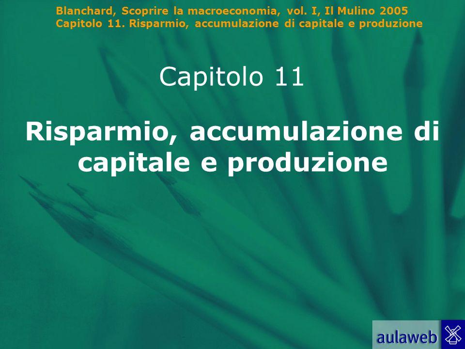 Blanchard, Scoprire la macroeconomia, vol. I, Il Mulino 2005 Capitolo 11. Risparmio, accumulazione di capitale e produzione Capitolo 11 Risparmio, acc