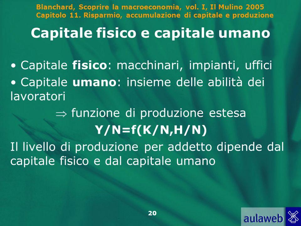Blanchard, Scoprire la macroeconomia, vol. I, Il Mulino 2005 Capitolo 11. Risparmio, accumulazione di capitale e produzione 20 Capitale fisico e capit