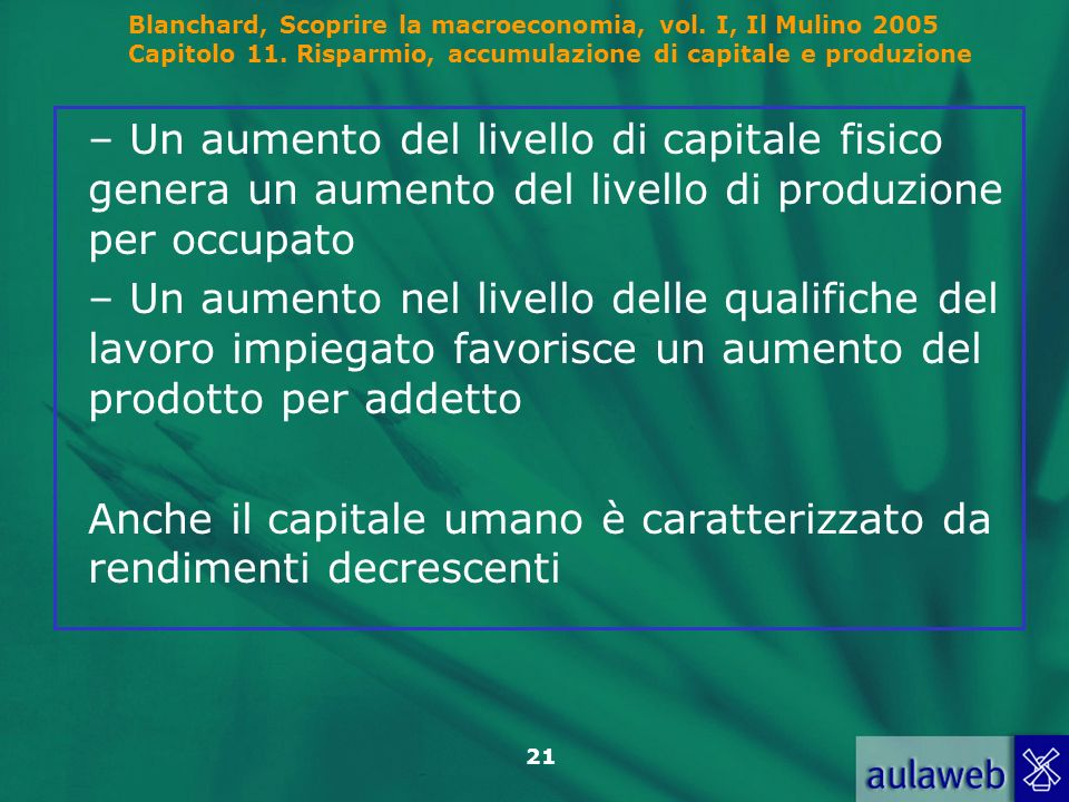 Blanchard, Scoprire la macroeconomia, vol. I, Il Mulino 2005 Capitolo 11. Risparmio, accumulazione di capitale e produzione 21 – Un aumento del livell