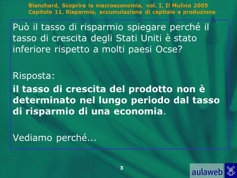 Blanchard, Scoprire la macroeconomia, vol. I, Il Mulino 2005 Capitolo 11. Risparmio, accumulazione di capitale e produzione 3 Può il tasso di risparmi