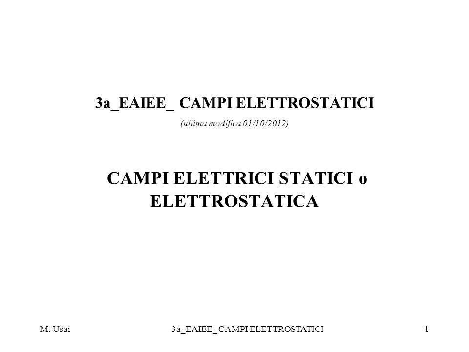 M. Usai3a_EAIEE_ CAMPI ELETTROSTATICI1 3a_EAIEE_ CAMPI ELETTROSTATICI (ultima modifica 01/10/2012) CAMPI ELETTRICI STATICI o ELETTROSTATICA