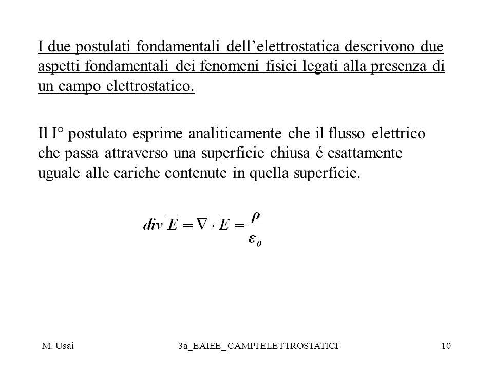 M. Usai3a_EAIEE_ CAMPI ELETTROSTATICI10 I due postulati fondamentali dellelettrostatica descrivono due aspetti fondamentali dei fenomeni fisici legati