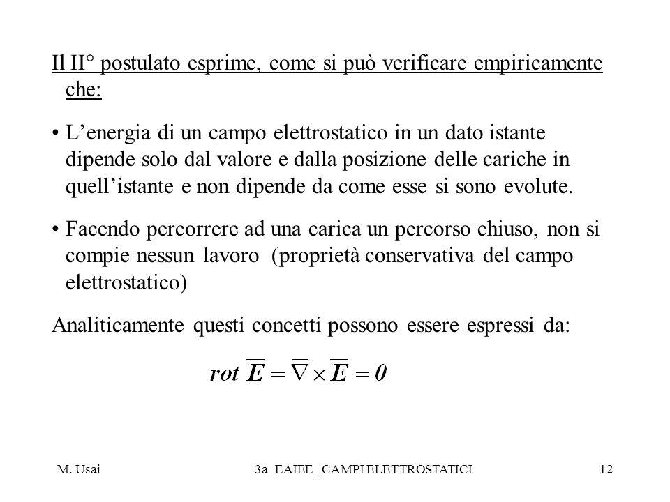 M. Usai3a_EAIEE_ CAMPI ELETTROSTATICI12 Il II° postulato esprime, come si può verificare empiricamente che: Lenergia di un campo elettrostatico in un