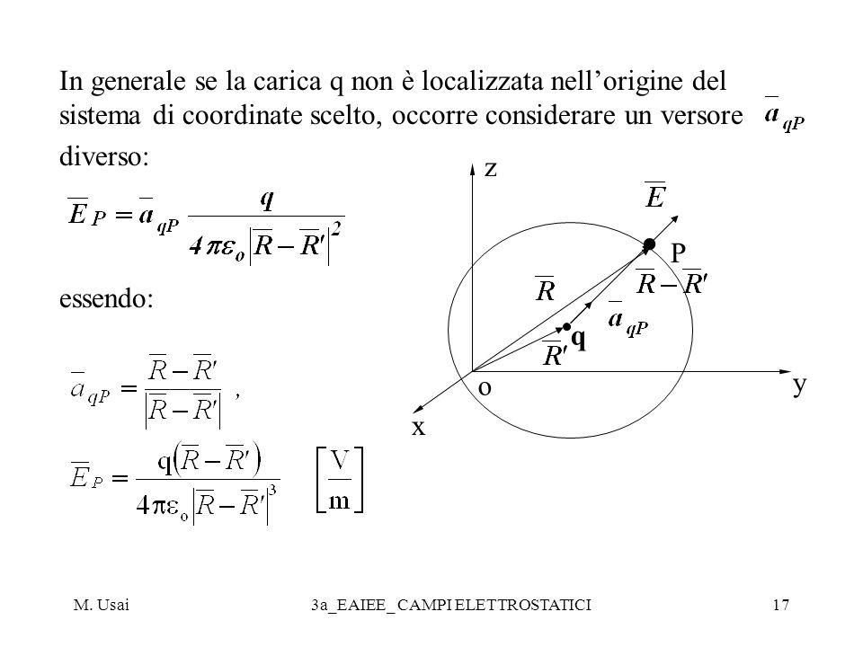 M. Usai3a_EAIEE_ CAMPI ELETTROSTATICI17 In generale se la carica q non è localizzata nellorigine del sistema di coordinate scelto, occorre considerare
