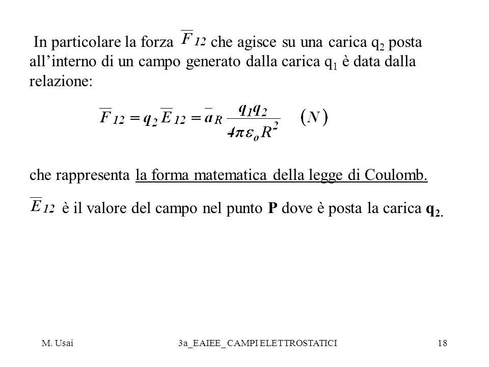 M. Usai3a_EAIEE_ CAMPI ELETTROSTATICI18 In particolare la forza che agisce su una carica q 2 posta allinterno di un campo generato dalla carica q 1 è