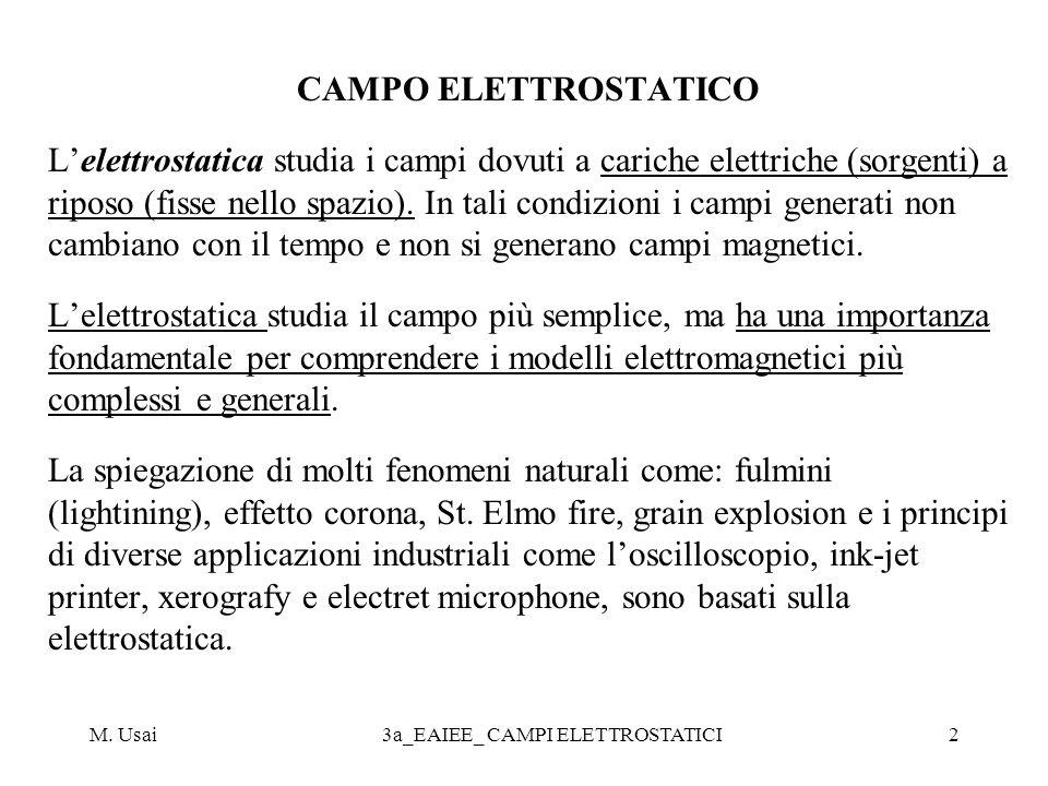M. Usai3a_EAIEE_ CAMPI ELETTROSTATICI2 CAMPO ELETTROSTATICO Lelettrostatica studia i campi dovuti a cariche elettriche (sorgenti) a riposo (fisse nell