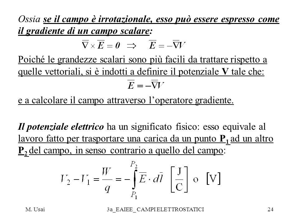 M. Usai3a_EAIEE_ CAMPI ELETTROSTATICI24 Ossia se il campo è irrotazionale, esso può essere espresso come il gradiente di un campo scalare: Poiché le g