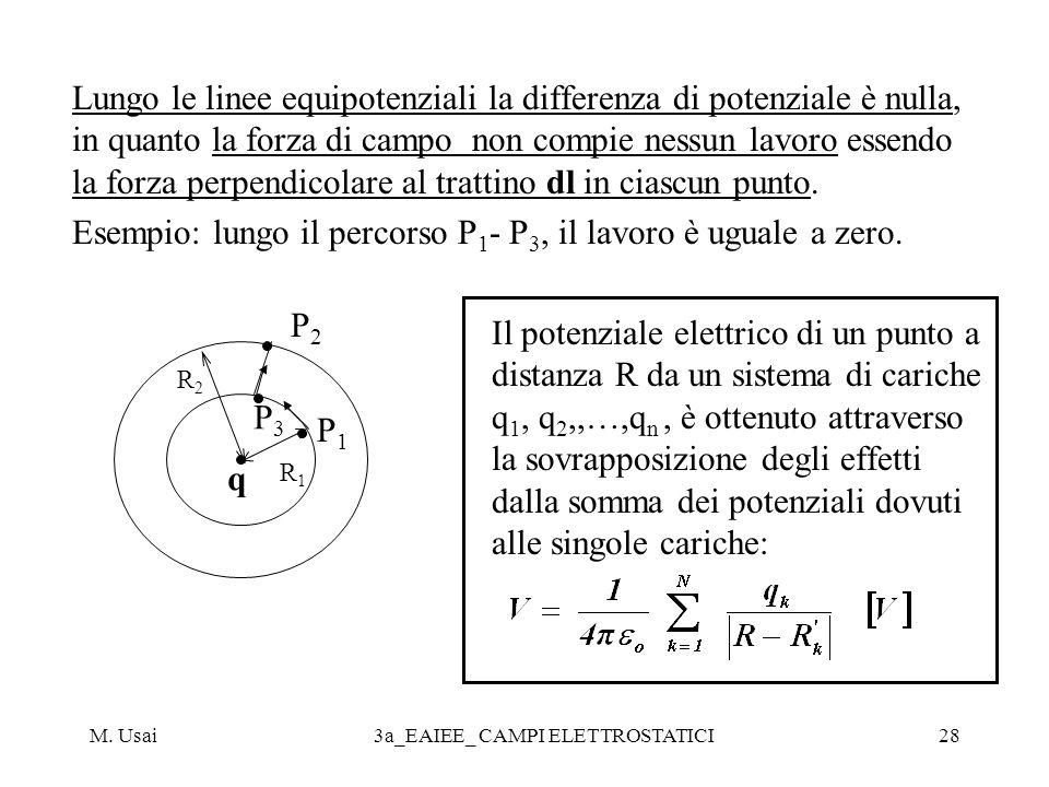 M. Usai3a_EAIEE_ CAMPI ELETTROSTATICI28 Lungo le linee equipotenziali la differenza di potenziale è nulla, in quanto la forza di campo non compie ness