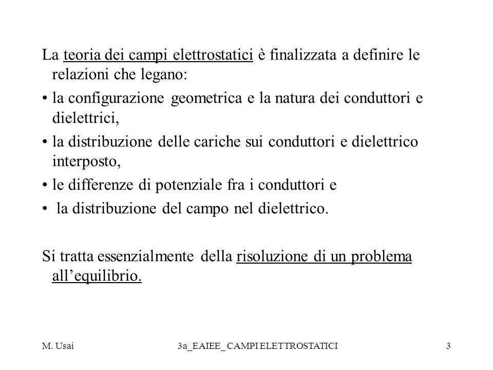 M. Usai3a_EAIEE_ CAMPI ELETTROSTATICI3 La teoria dei campi elettrostatici è finalizzata a definire le relazioni che legano: la configurazione geometri