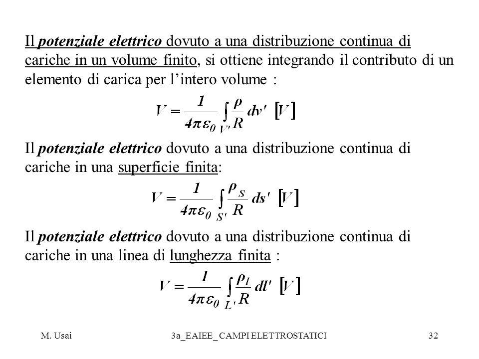 M. Usai3a_EAIEE_ CAMPI ELETTROSTATICI32 Il potenziale elettrico dovuto a una distribuzione continua di cariche in un volume finito, si ottiene integra