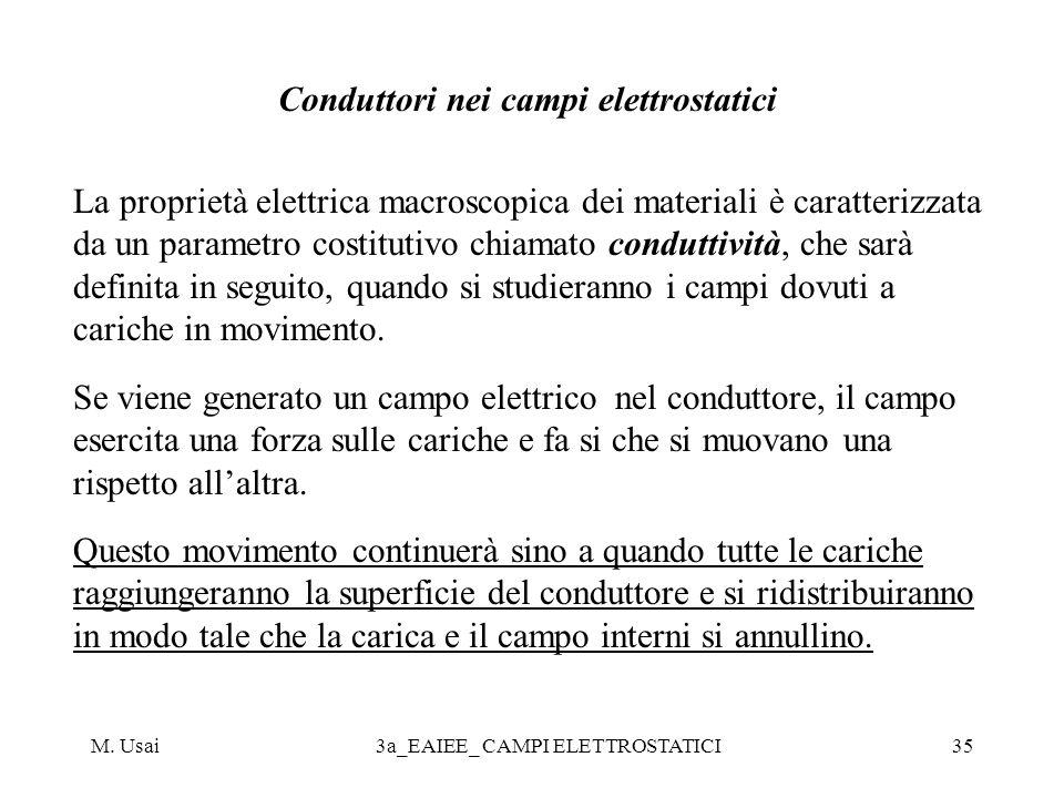 M. Usai3a_EAIEE_ CAMPI ELETTROSTATICI35 Conduttori nei campi elettrostatici La proprietà elettrica macroscopica dei materiali è caratterizzata da un p