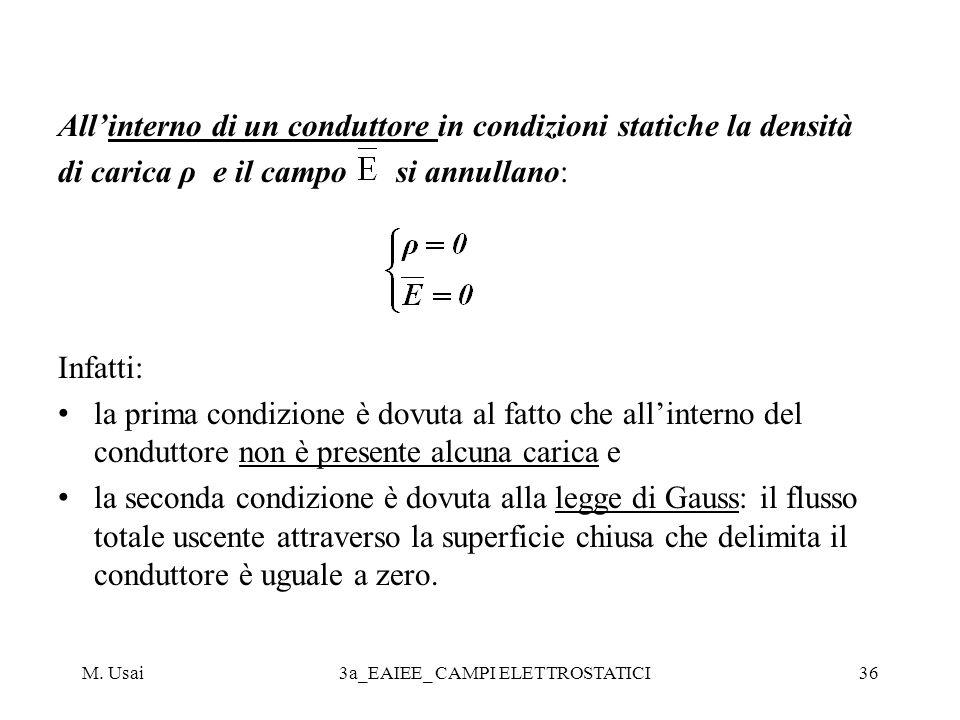 M. Usai3a_EAIEE_ CAMPI ELETTROSTATICI36 Allinterno di un conduttore in condizioni statiche la densità di carica ρ e il campo si annullano: Infatti: la