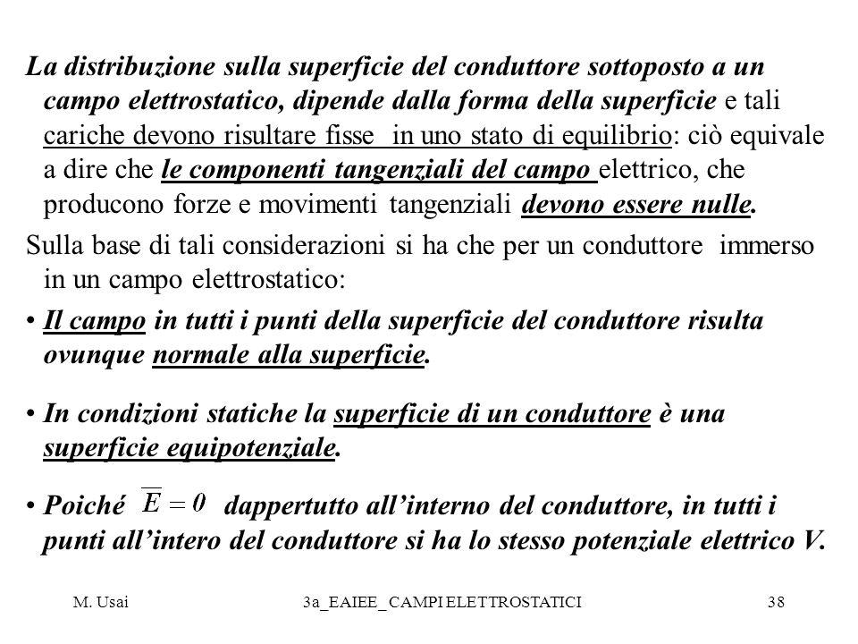 M. Usai3a_EAIEE_ CAMPI ELETTROSTATICI38 La distribuzione sulla superficie del conduttore sottoposto a un campo elettrostatico, dipende dalla forma del