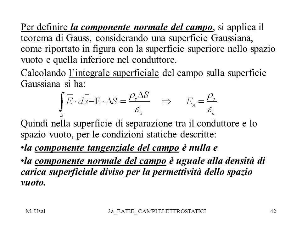 M. Usai3a_EAIEE_ CAMPI ELETTROSTATICI42 Per definire la componente normale del campo, si applica il teorema di Gauss, considerando una superficie Gaus