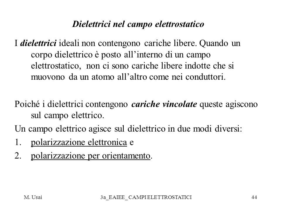 M. Usai3a_EAIEE_ CAMPI ELETTROSTATICI44 Dielettrici nel campo elettrostatico I dielettrici ideali non contengono cariche libere. Quando un corpo diele