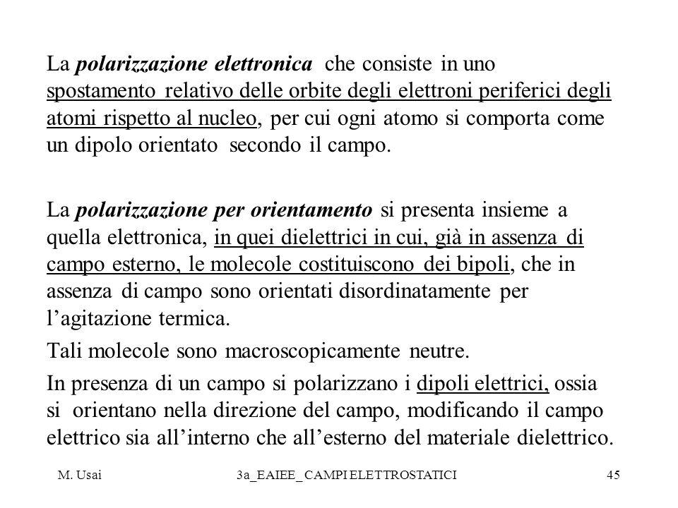 M. Usai3a_EAIEE_ CAMPI ELETTROSTATICI45 La polarizzazione elettronica che consiste in uno spostamento relativo delle orbite degli elettroni periferici