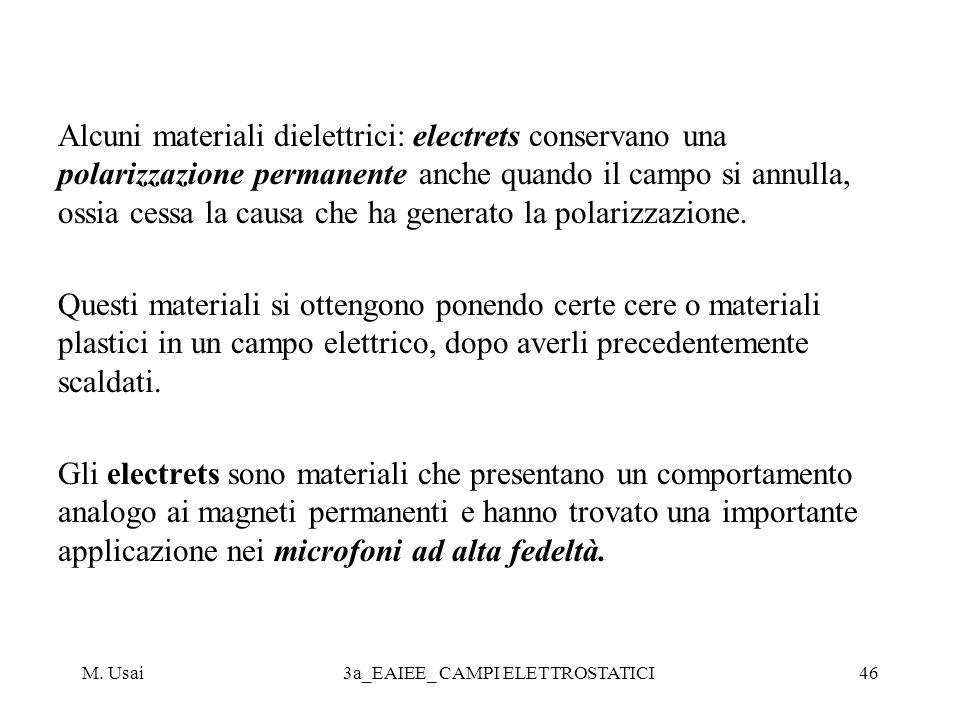 M. Usai3a_EAIEE_ CAMPI ELETTROSTATICI46 Alcuni materiali dielettrici: electrets conservano una polarizzazione permanente anche quando il campo si annu